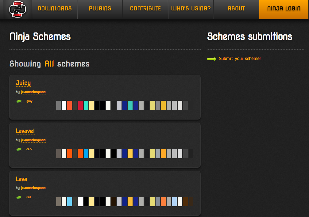 A screenshot of the colorscheme gallery at ninja-ide.org